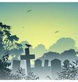 misty graveyard vector image