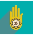 Modern flat icon with long shadow hand sign of om vector image