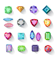 Colored gems jewelry icons vector