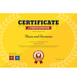 Certificate Participation Sport Trophy yellow vector image