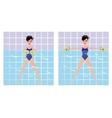 Beautiful girl doing Aqua aerobics girl vector image