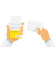 doctor holding blister pack of pills in hands vector image