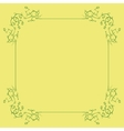 Green Floral Frame on a Yellow Background vector image