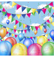 Holiday background with balloons and flags vector image