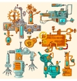 Industrial Machines Doodles Colored vector image