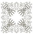 Swirl of jellyfish drawn in line art style Ocean vector image