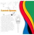 Rio Olympics brochures with abstract background vector image