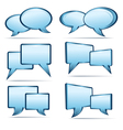Silver blue 3D and 2D speech bubbles vector image