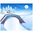 snowy bridge bakground vector image