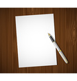 White sheet on a wooden table vector image