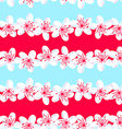 Red and Blue tropical frangipani seamless pattern vector image