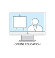 Thin line icon of online education vector image