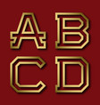 a b c d gold angular letters with shadow vector image