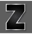 Metal grid font - letter Z vector image