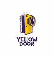 modern professional sign logo yellow door vector image