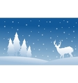 Silhouette of spruce and deer Christmas scenery vector image