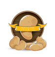 sweet brown potato label with pile of vector image