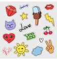 Patch badges set Stickers pins patches with vector image