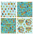 Hanukkah seamless pattern collection Hanukkah vector image