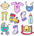 doodle of element toys for baby vector image