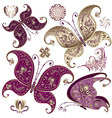 set purple and gold vintage butterflies vector image vector image