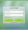 Login screen green online user web page vector image