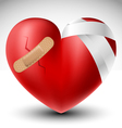 Broken heart with bandage vector image