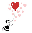 Girl holding the string of flying heart balloon vector image