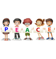 Kids holding the PEACE letters vector image