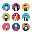 Set of stylish avatars of man and woman icons vector image