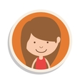 round frame and girl with brown hair vector image