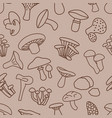 mushroom seamless pattern in brown colour vector image
