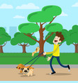 young man walking dog in park vector image vector image