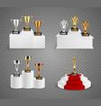 trophies on pedestals realistic design set vector image