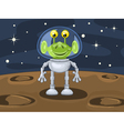 Funny cartoon alien above planetoid surface vector image