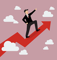 Businessman standing on a growing graph vector image vector image