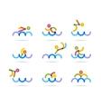 swimming colorfu icons vector image