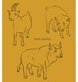 bull goat pig vector image