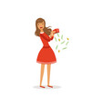 beautiful frustrated young woman character in red vector image