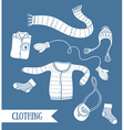 Cute collection of handmade clothes isolated on vector image
