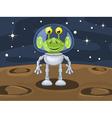 Funny cartoon alien above planetoid surface vector image