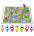Paper maps icons and distance marked in red vector image