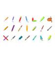 pen pencil icon set cartoon style vector image