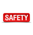 safety red 3d square button isolated on white vector image