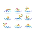 swimming colorfu icons vector image