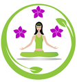 Yoga meditation girl logo vector image