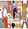 Funny cartoon seamless cats pattern vector image