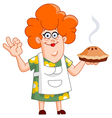 woman with pie vector image