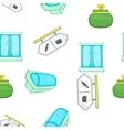 Supermarket elements pattern cartoon style vector image