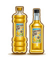 2 yellow bottles with sunflower oil vector image